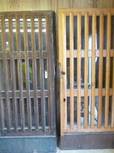 Öljytty ja lakattu ovi ennen kunnostusta
